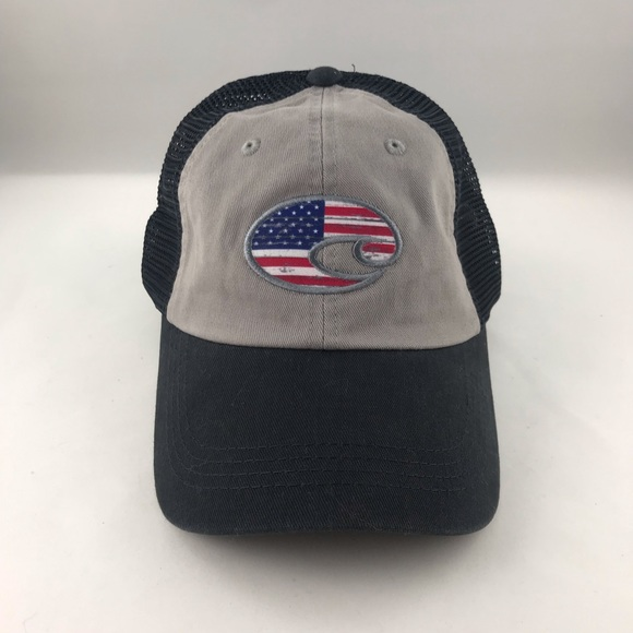 Costa Del Mar USA Logo United Trucker Mesh Snapback Hat Cap in Red White Blue